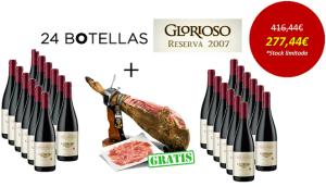 Vino Rioja Glorioso Reserva 2008 con un jamón ibérico de regalo ¡Chollo!