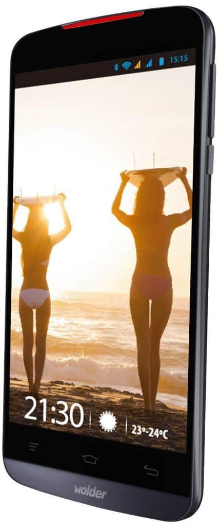 "Wolder miSmart WAVE4 - Smartphone libre de 5"" (HD IPS OGS, Quad Core de 1.3 GHz, 1 GB de RAM, Dual SIM, 5/13 MP, 4 GB, Android 4.4) negro por 77 euros"