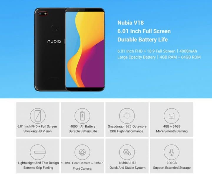 Smartphone ZTE Nubia V18 64GB de oferta por 108 euros (Oferta FLASH)