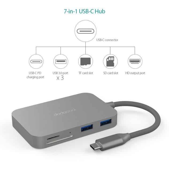Oferta Hub USB C dodocool 7 en 1 para Macbook o Chromebook por 24,99 euros (Cupón Descuento)