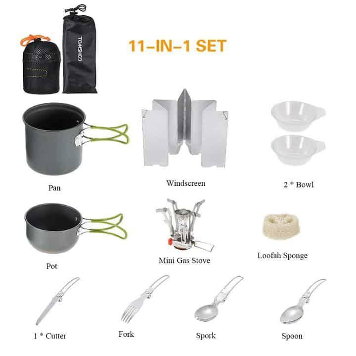 Oferta Set de cocina con hornillo para acampada TOMSHOO por 20 euros (Cupón descuento)