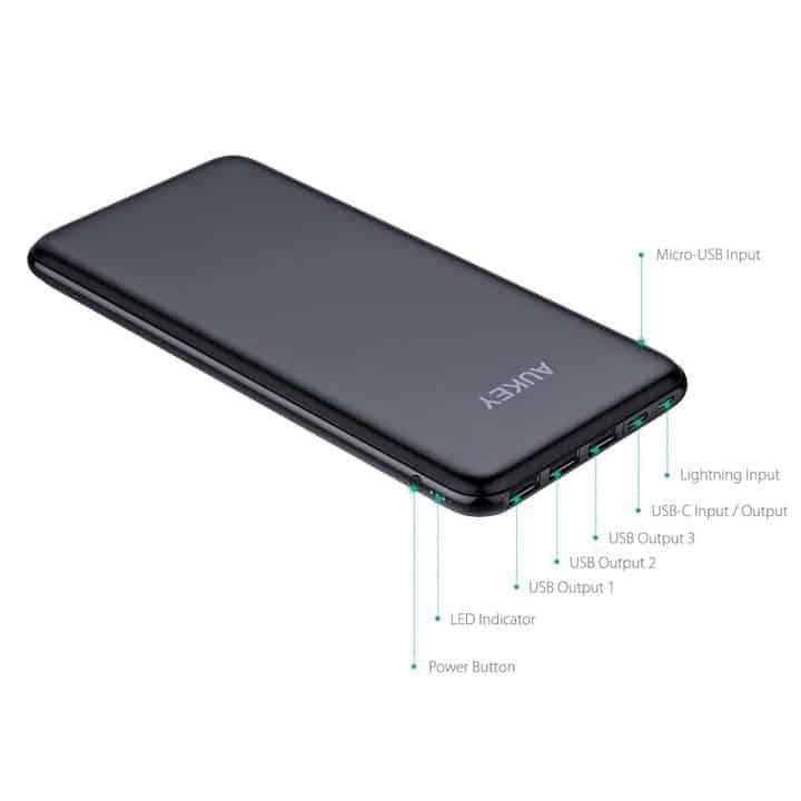 Oferta Batería Externa Ultrafina AUKEY 20.000 mA por 36,99 euros (Oferta FLASH)