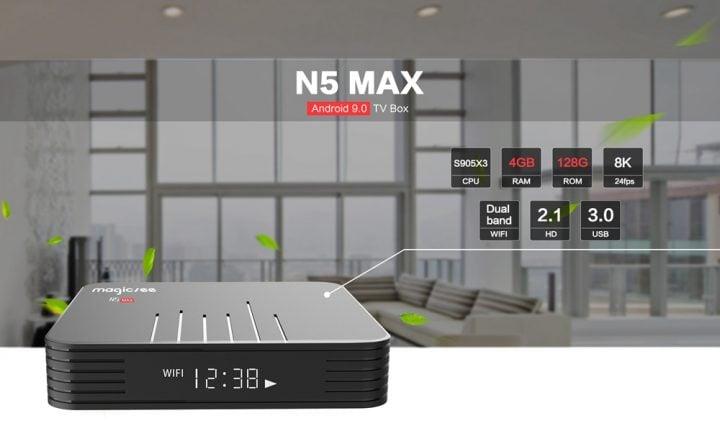 Oferta Magicsee N5 MAX Android TV Box por 39 euros desde España (Cupón Descuento)
