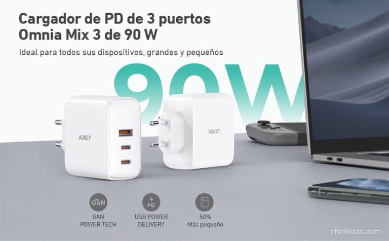 Oferta Cargador USB C 90W AUKEY por 39 euros (Cupón Descuento)